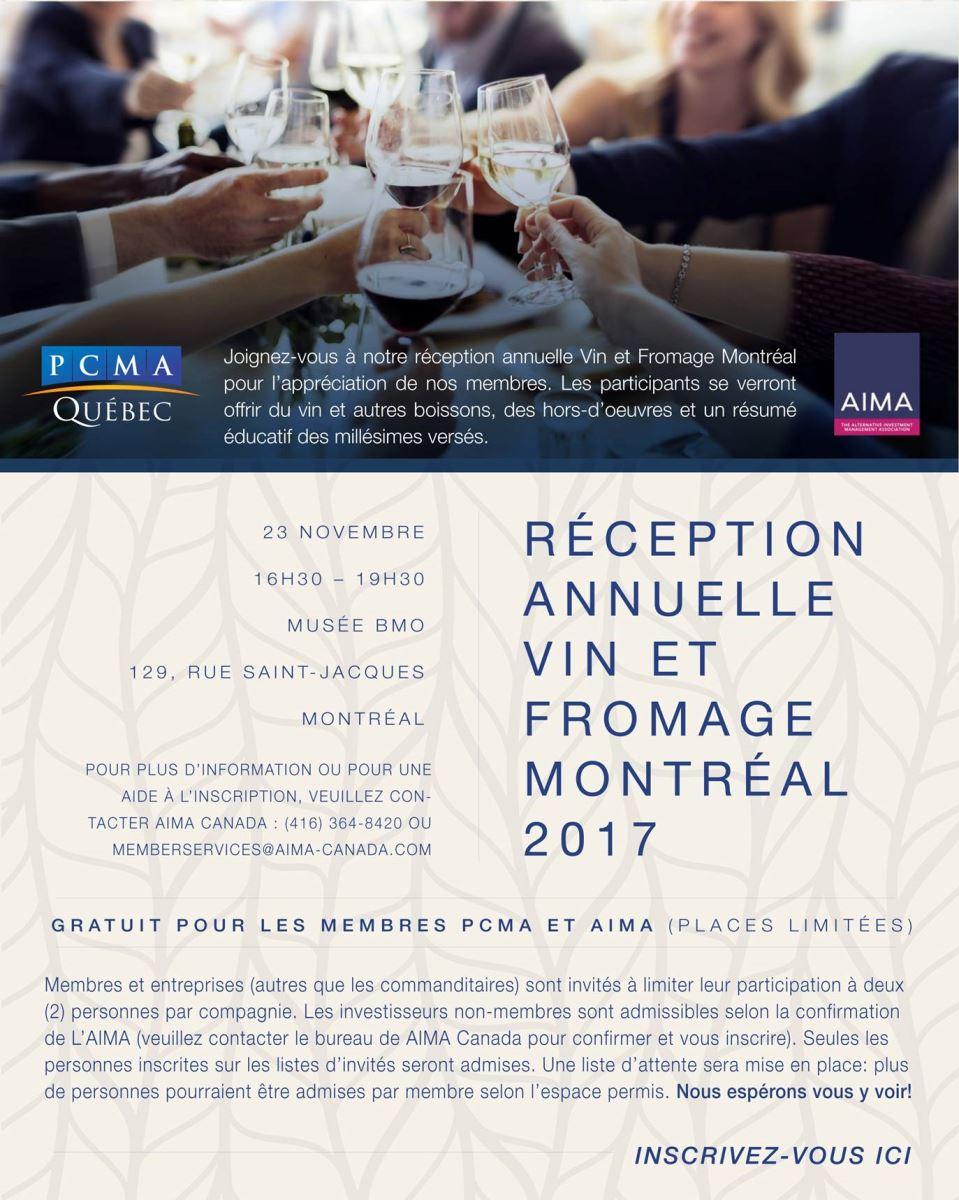 Réception annuelle vin et fromage Montréal 2017
