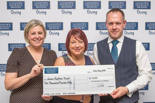 James Hopkins Trust gets £10,000 from Lansdown Insurance Brokers